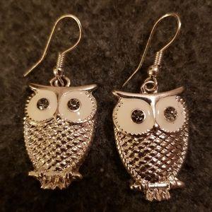 Owl Dangle Earrings in Sterling Silver